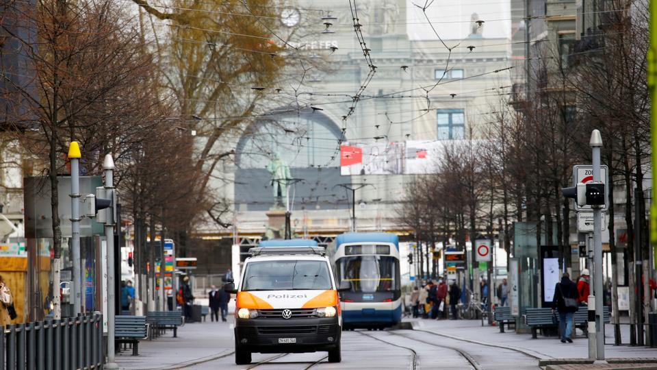 A Swiss police van is seen on Bahnhofstrasse shopping street, as the spread of the coronavirus disease (Covid-19) continues, in Zurich, Switzerland February 17, 2021.