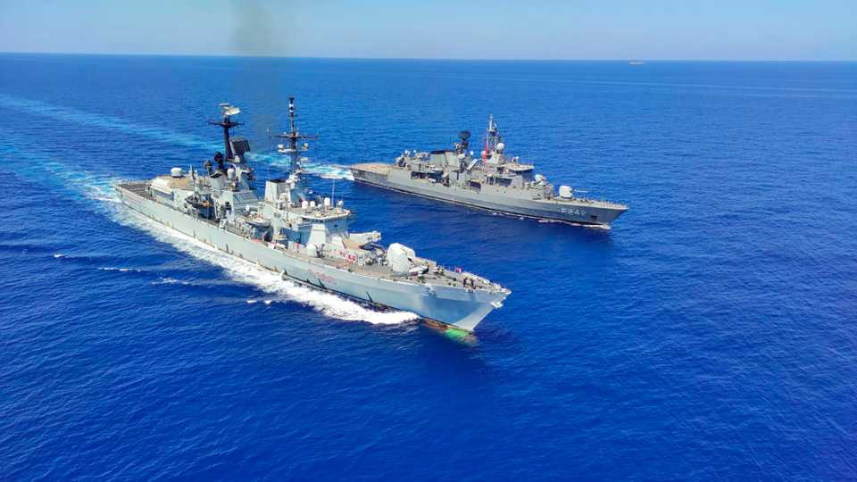 Italian destroyer ITS Durand De La Penne, left, along with Turkish frigates TCG Goksu and TCG Fatih conduct maritime trainings in the Eastern Mediterranean, August 25, 2020.