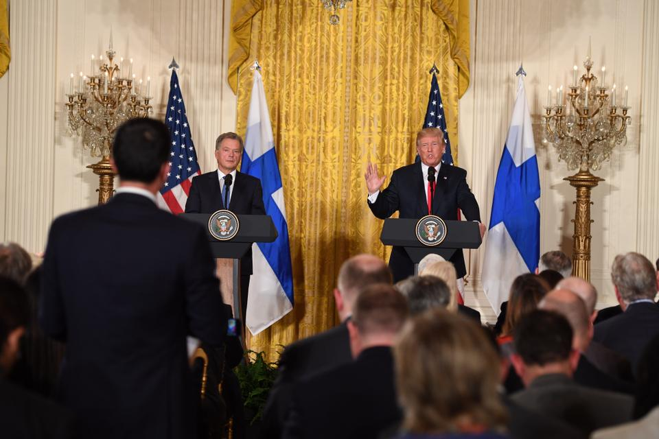 US President Donald Trump and Finnish President Sauli Niinistö hold a joint press conference on August 28, 2017, at the White House.