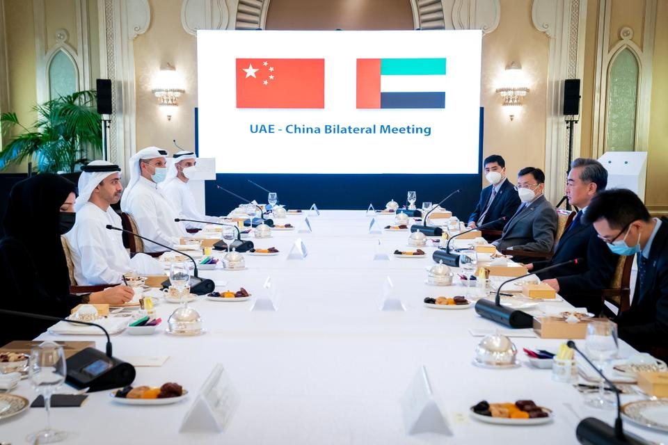 China's State Councilor and Foreign Minister Wang Yi and UAE's Foreign Minister Abdullah Bin Zayed Al Nahyan are seen during their meeting in Abu Dhabi, UAE, March 28, 2021.