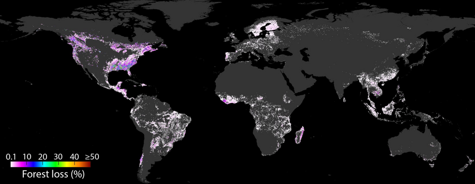 The map shows the cumulative spatial deforestation footprint over 15 years, from 2001-2015. The pixel value is the percentage of embodied deforestation by the target consumer country within the pixel area.