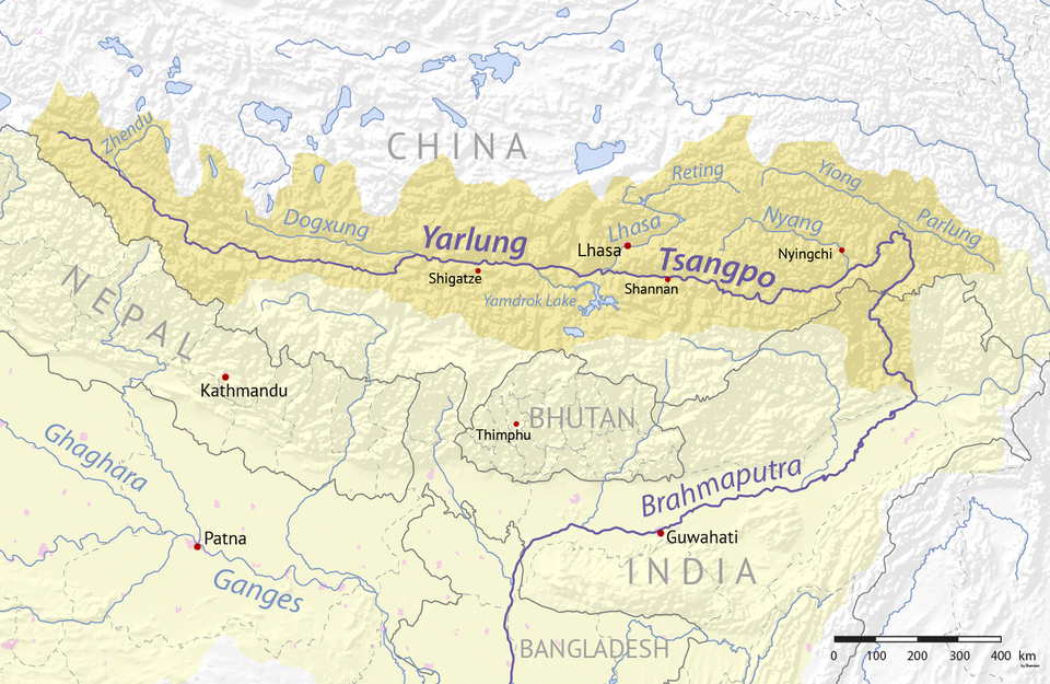 The Chinese water catchment (yellow) of the Yarlung Tsango Brahmaputra River system.