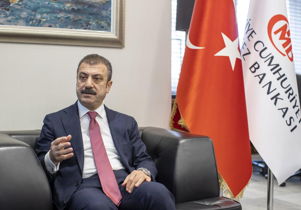 Chief of the the Central Bank of the Republic of Turkey (CBRT), Sahap Kavcioglu speaks during an interview in Ankara, Turkey on April 16, 2021.