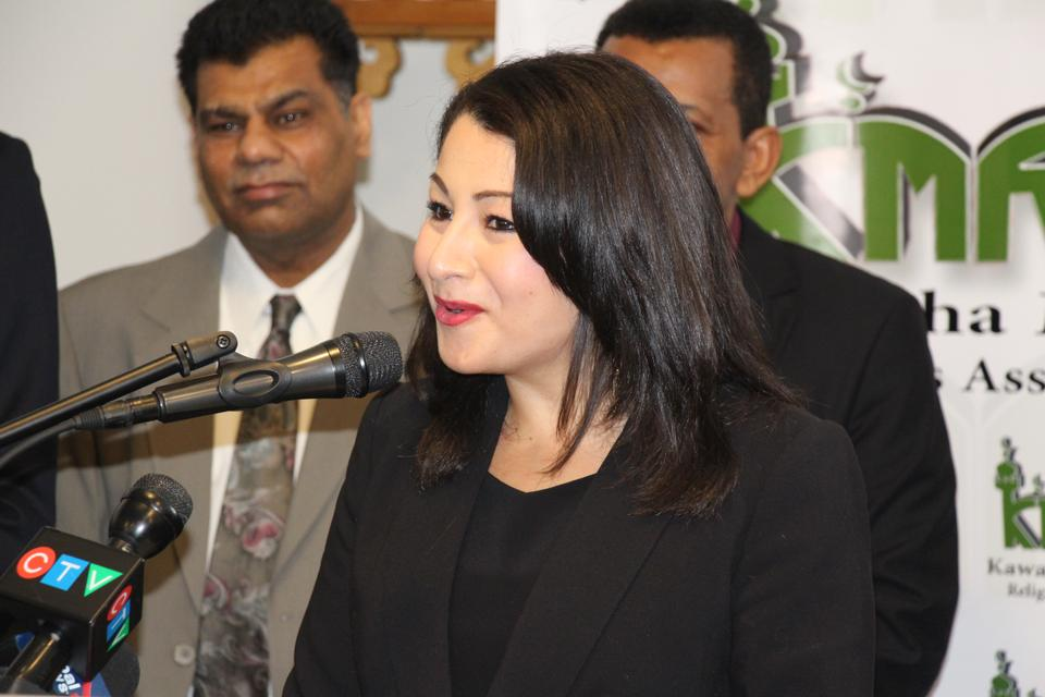 Democratic Institutions Minister Maryam Monsef delivers a speech during her visit at the Masjid al-Salaam, a mosque in Peterbrough that just re-opened after a fire was deliberately set, in Peterborough, Canada on January 17, 2016.