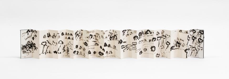 Beit Eddin, 2003, Leporello, Chinese ink on paper 19x8cm (open:19x174cm).