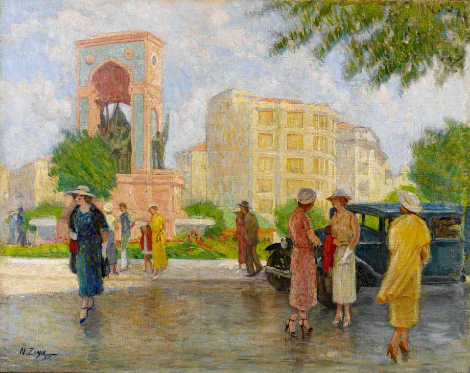 Nazmi Ziya Guran (1881-1937). Taksim Square, 1935. Oil on canvas, 73.5 x 92 cm
