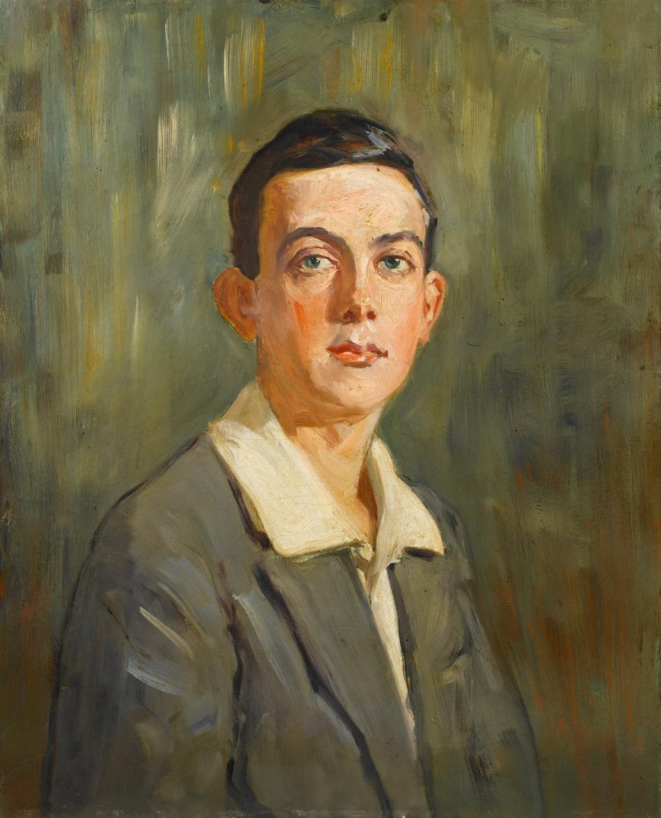 Mihri (Musfik) Hanım (1886-1950?). Portrait of a Young Man. Oil on canvas, 62.5 x 50.5 cm