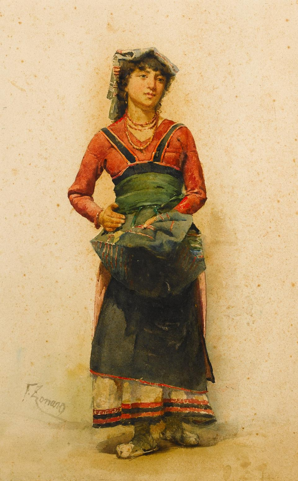 Fausto Zonaro (1854-1929). A Woman. Watercolor on paper, 50 x 31.5 cm