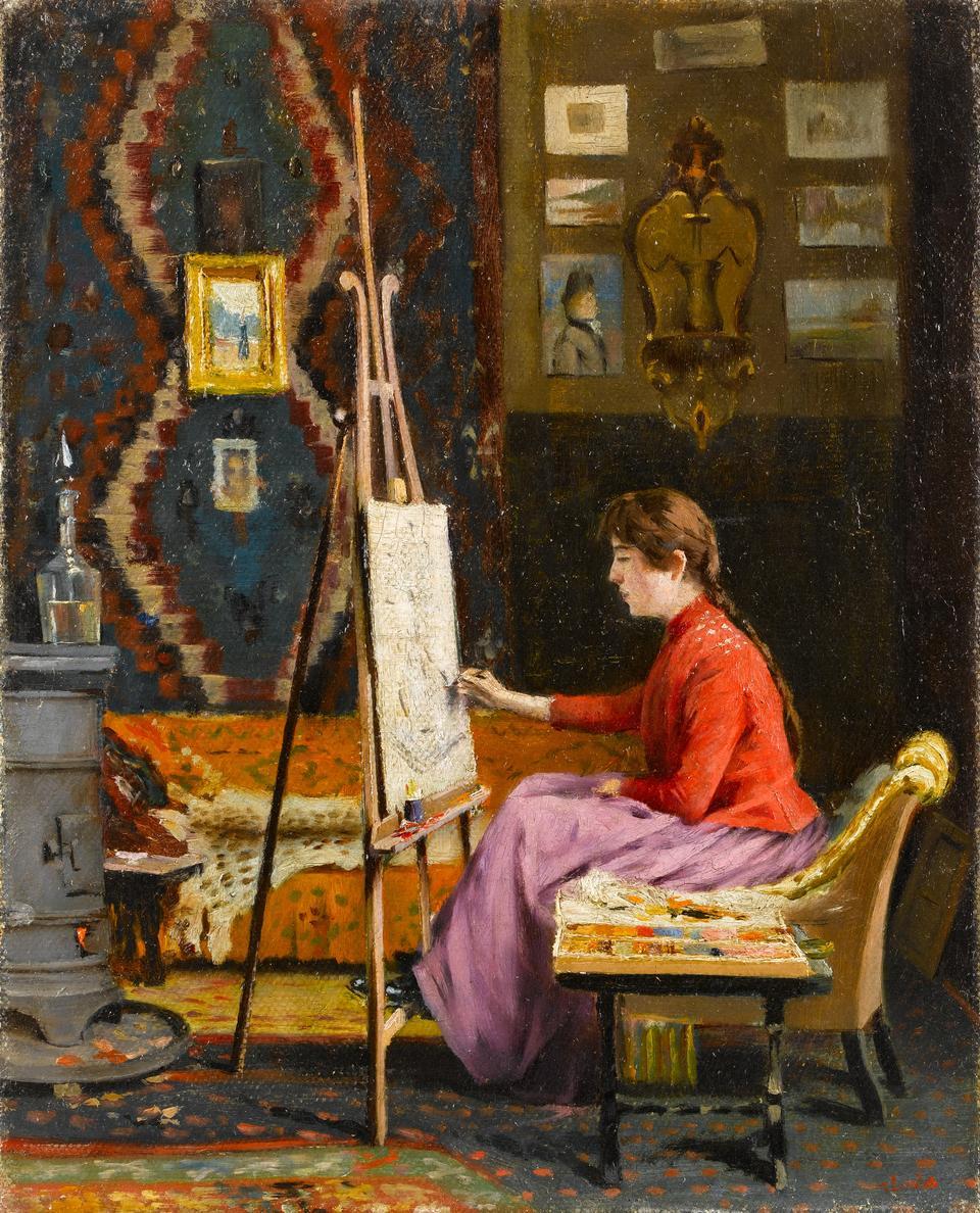 Halil Pasha (1857-1939). Painter and her Studio. Oil on canvas, 41 x 33 cm