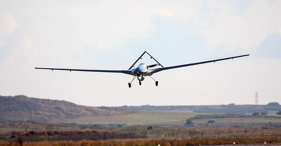 Bayraktar TB2 armed unmanned aerial vehicles, stationed at Naval Air Base Command in Turkey's Aegean district of Dalaman, lands in the Turkish Republic of Northern Cyprus (TRNC).