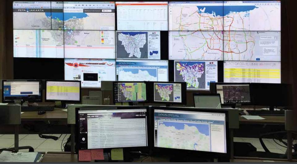 Ruang Kendali Badan Nasional Penanggulangan Bencana (BNPP) di Jakarta.  BNPP telah menggunakan situs Bettapenkana sejak 2017 sebagai bagian dari kegiatan manajemen darurat hariannya.