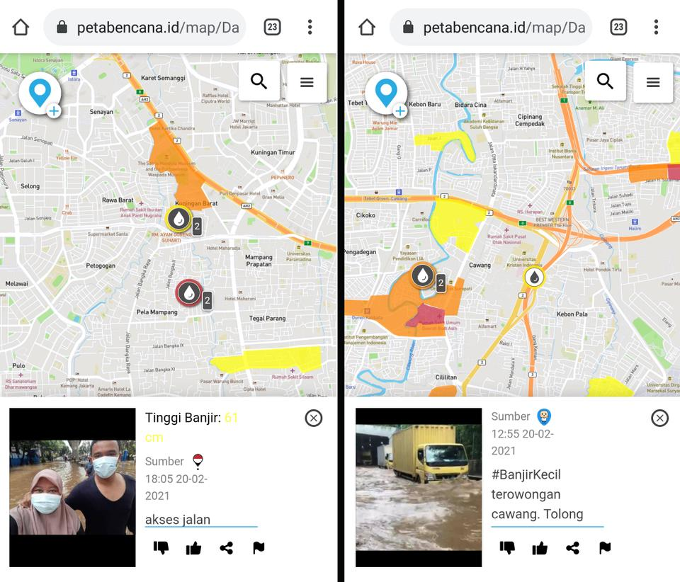 Tangkapan layar laporan bencana sipil yang dipublikasikan di PetaBencana.id