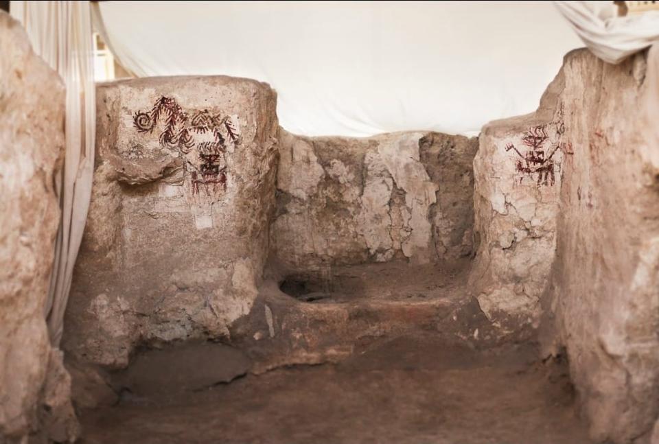 Drawings on stones at Arslantepe, in Malatya, southwestern Turkey.