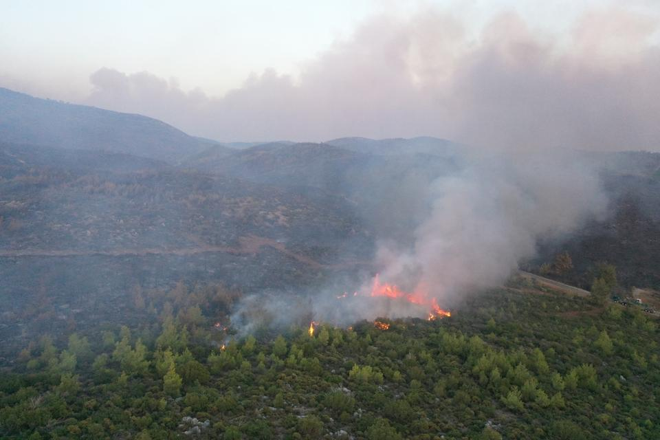 The efforts to extinguish the forest fire in the Bodrum district of Muğla were caught on camera by the Anadolu Agency team.