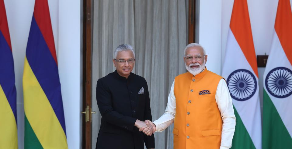Indian PM Narendra Modi meets with his Mauritius counterpart Pravind Kumar Jugnauth before the start of their bilateral meeting in New Delhi, India, on May 31, 2019. India-Mauritius ties are close, and Mauritius is increasingly becoming an integral part of India's Ocean Diplomacy goals.