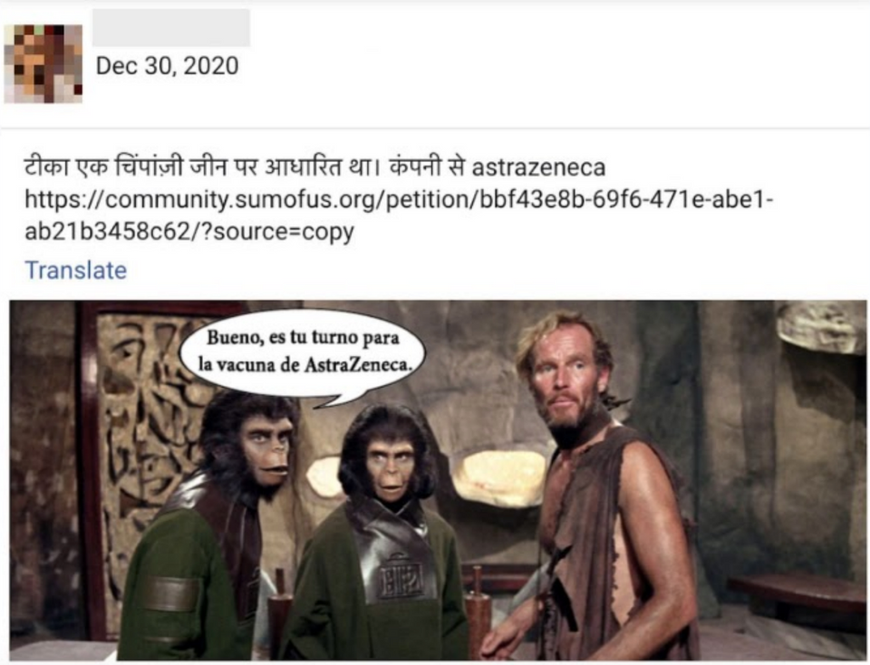 """Lower post text: """"The vaccine was based on a chimpanzee gene from the company AstraZeneca."""""""