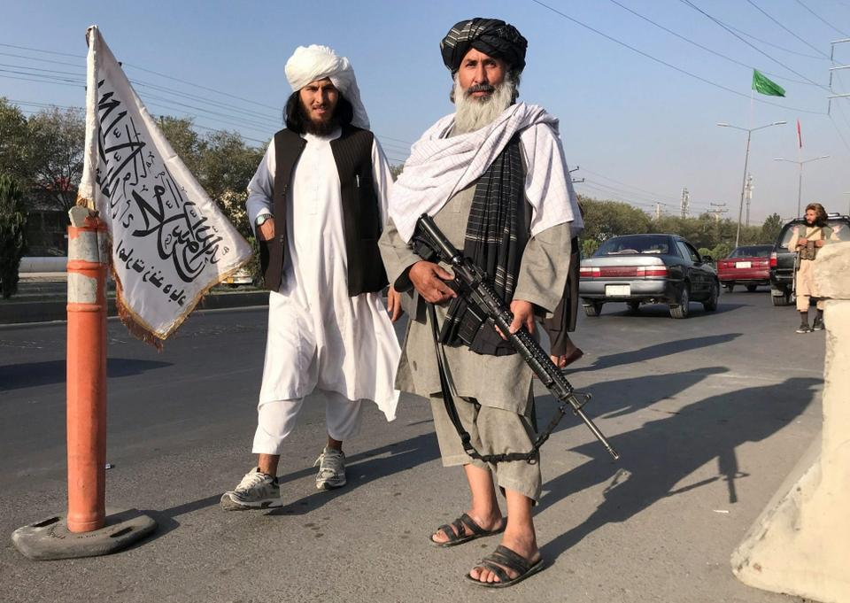 Taliban forces outside the Afghanistan Interior Ministry in Kabul. August 16, 2021.