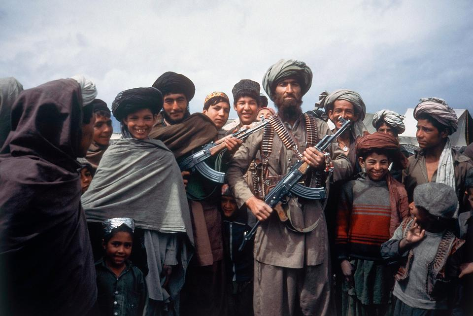 Mujahideen tribesmen at border camp near Wana in Afghanistan in April 1984.