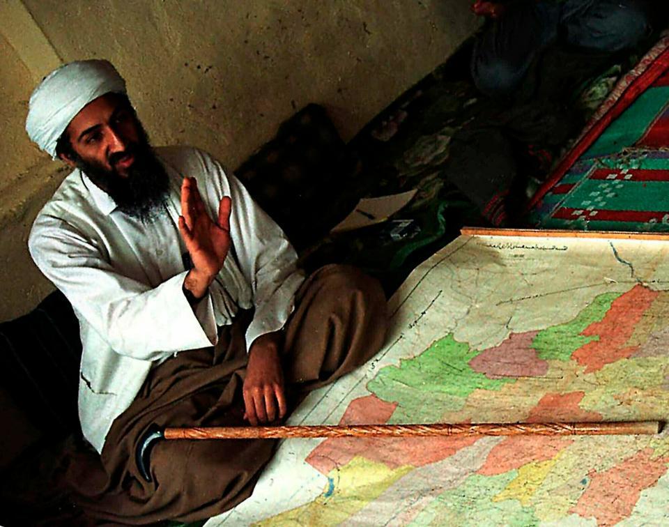 This April 1998 file photo, shows al-Qaida leader Osama bin Laden in Afghanistan.