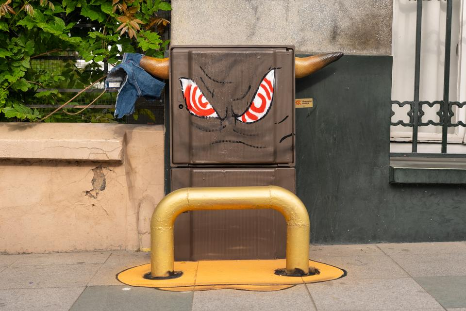 A utility box gets painted as an angry bull.