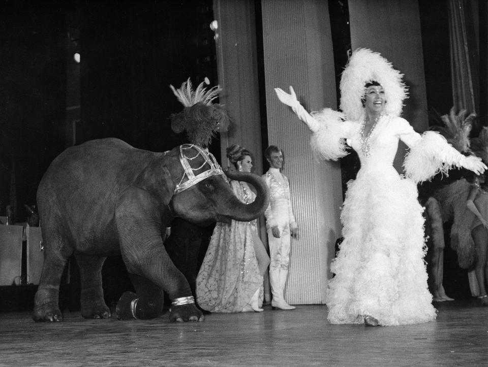 In this April 4, 1968 file photo, entertainer Josephine Baker appears with a young elephant on stage during her gala premiere at the Olympia Theatre in Paris.