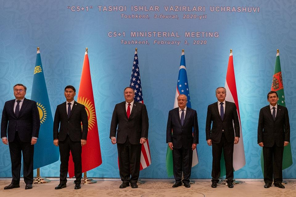 Former US Secretary of State Mike Pompeo meets his counterparts from five Central Asian states during the C5+1 ministerial summit in Tashkent, Uzbekistan, in 2020.
