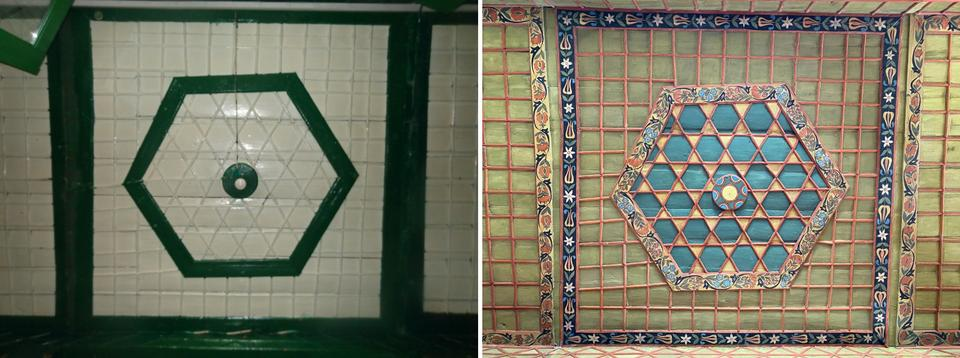 Adornments in the Bascarsija Mosque before and after restoration.