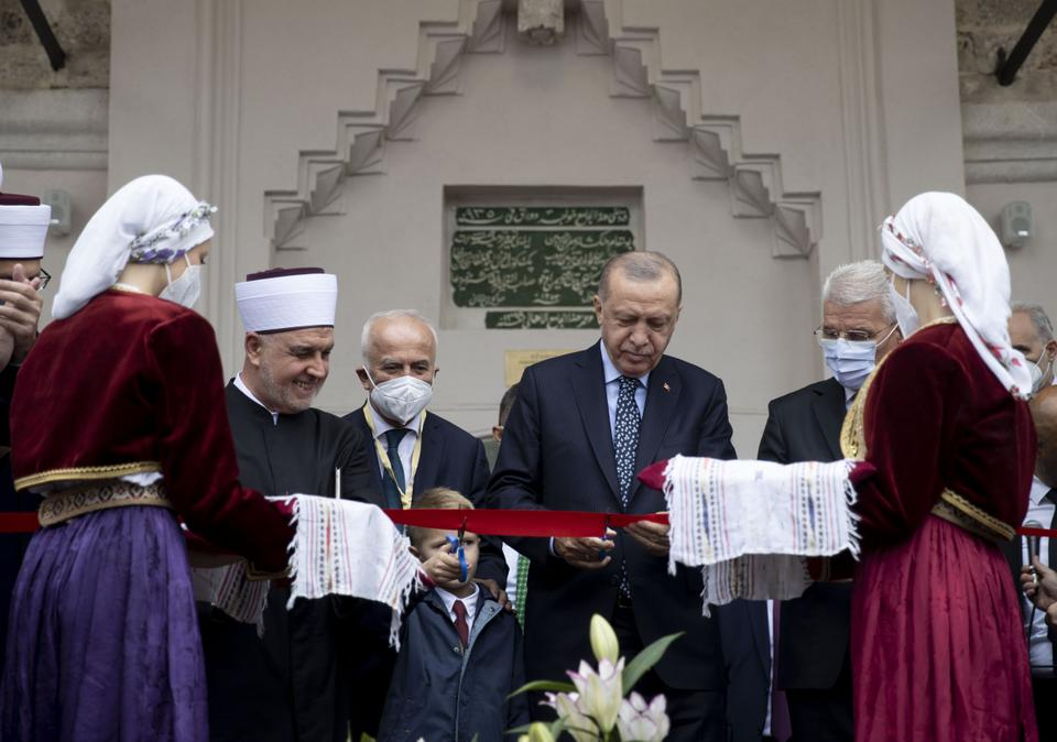 Turkey's President Erdogan at the opening ceremony of the Bascarsija Mosque in Sarajevo, Bosnia-Herzegovina on August 27, 2021.