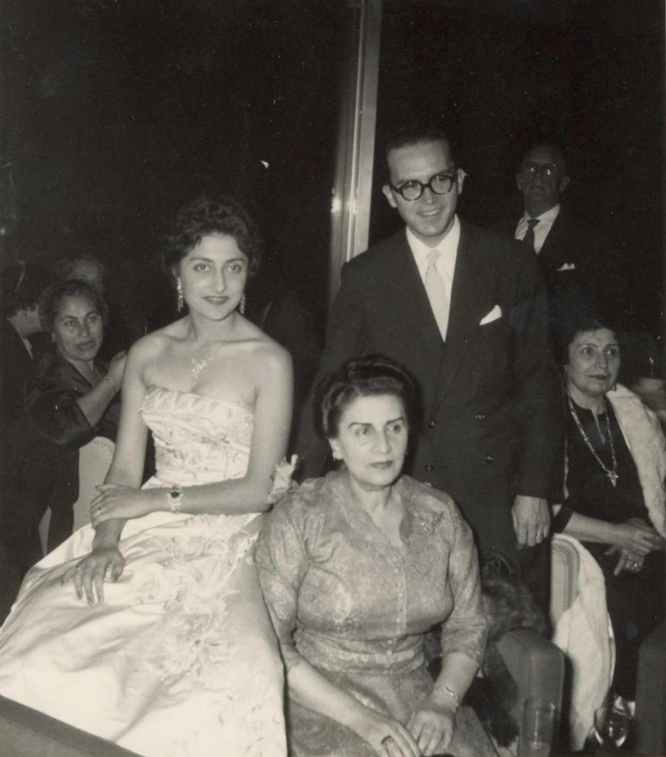 Princess Naciye and Ilter Dogan's Wedding, Istanbul, 1957. From left to right, respectively: Princess Naciye, Ilter Dogan, Queen Soraya Tarzi.