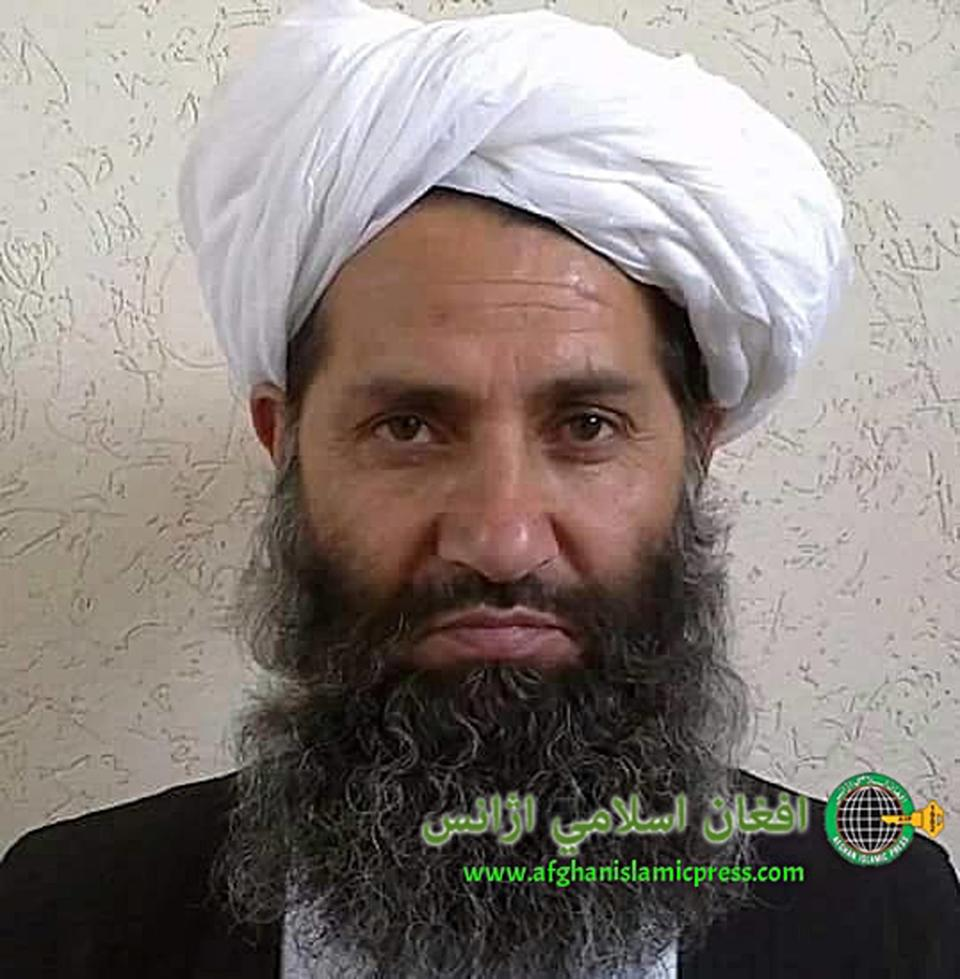 In this undated and unknown location photo, the current leader of Taliban, Mullah Hibatullah Akhundzada, who is also called Amir ul-Muminun, poses for a portrait.