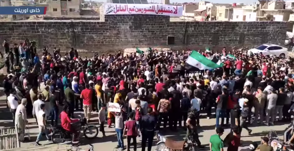 On May 26, 2021, thousands of people of Daraa protested the Syrian presidential elections in areas around the Omar Mosque, which was also exactly the scene where the first protest of the country's uprising happened in 2011.