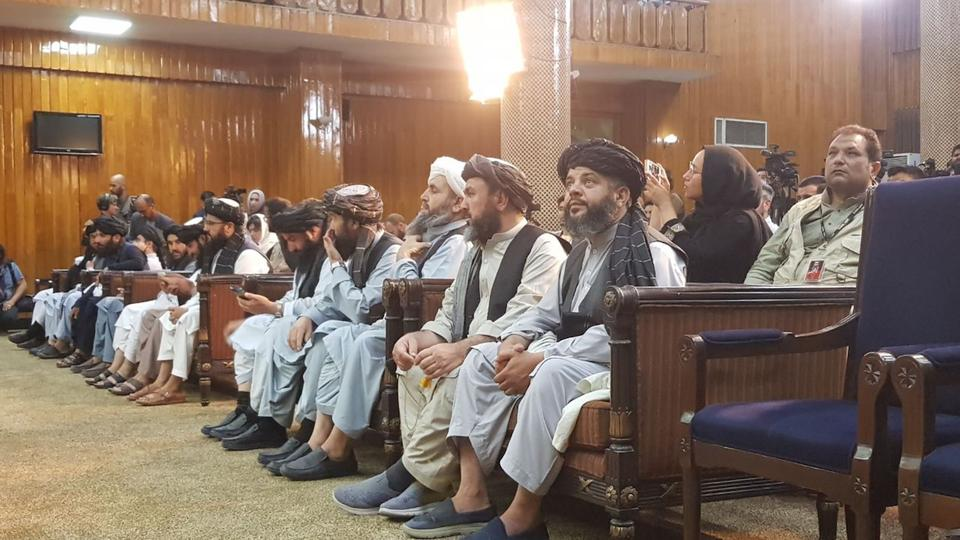Taliban officials attend the announcement of the Taliban government to press in Kabul, Afghanistan on September 7, 2021