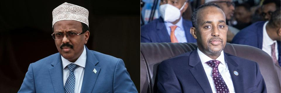 Somalia's President Mohamed Abdullahi Mohamed (L), commonly know as Farmajo walks to make his speech during the inauguration ceremony of Djibouti International Free Trade Zone (DIFTZ) in Djibouti on July 5, 2018 and Somalia's Prime Minister Mohamed Hussein Roble (R) attending the closing ceremony after reaching an agreement for the new elections at the National Consultative Council on Elections in Mogadishu, Somalia, on May 27, 2021.