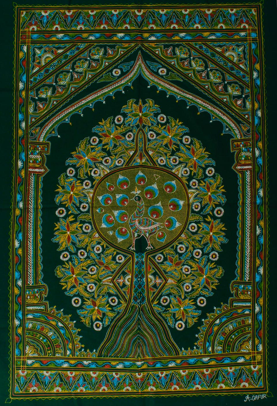 Rogan Art depicting the Tree of Life by Abdul Gafur Khatri.