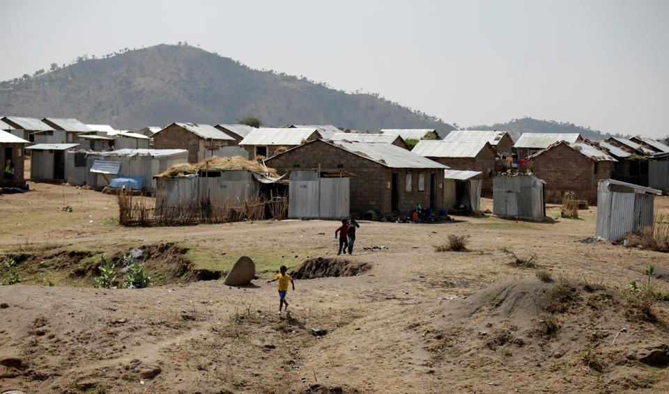 A view showing the refugee camp in Hitsats