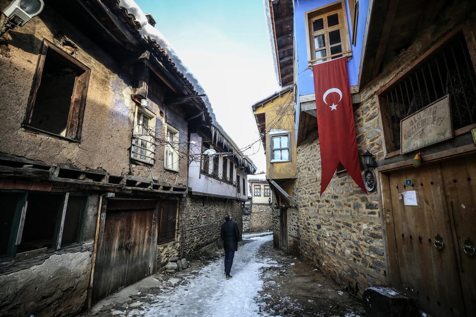 Bursa's World Heritage Site Cumalikizik in winter.