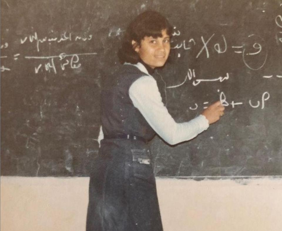 Meera Adnan's mother at her high school.