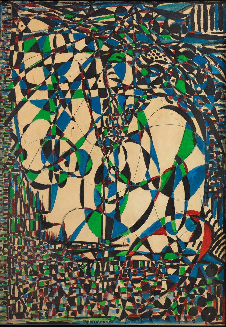 Fahrelnissa Zeid, abstract composition, 1950s, mixed media on paper, 104 x 74 cm