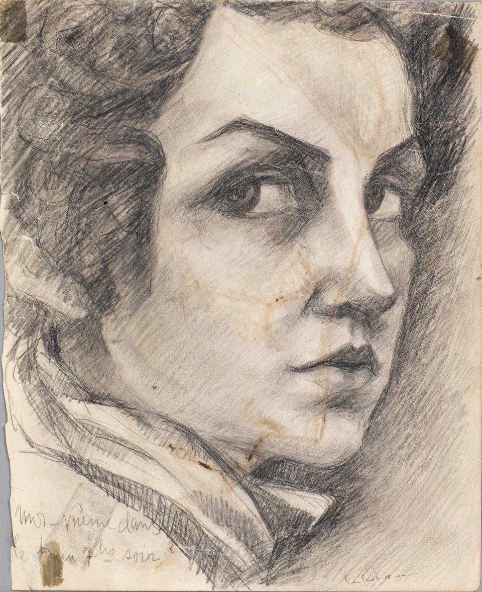 Fahrelnissa Zeid, self-portrait, 1930s, pencil on paper, 19.5 x 15.5 cm