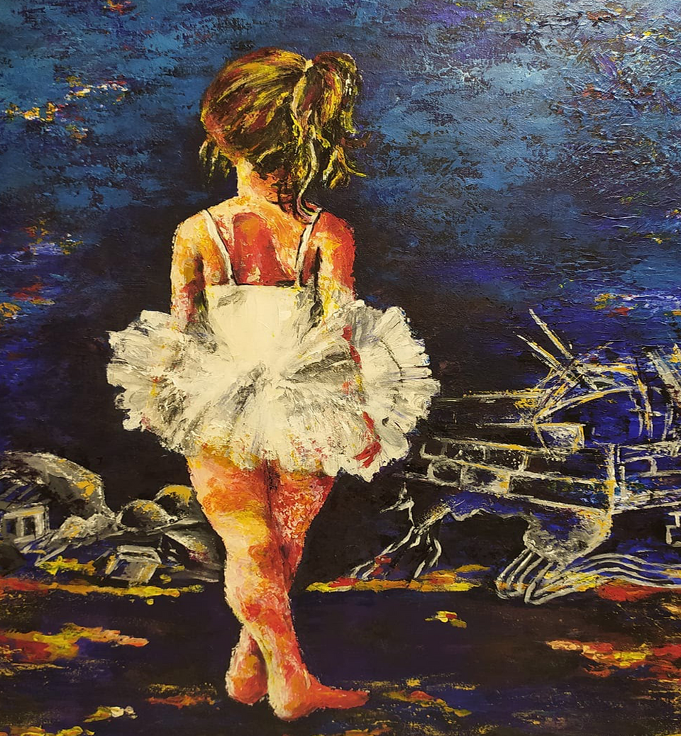 In her paintings, she combines the beauty ballerinas with the reality of Gaza's siege and countless checkpoints (Abeer Jebril)