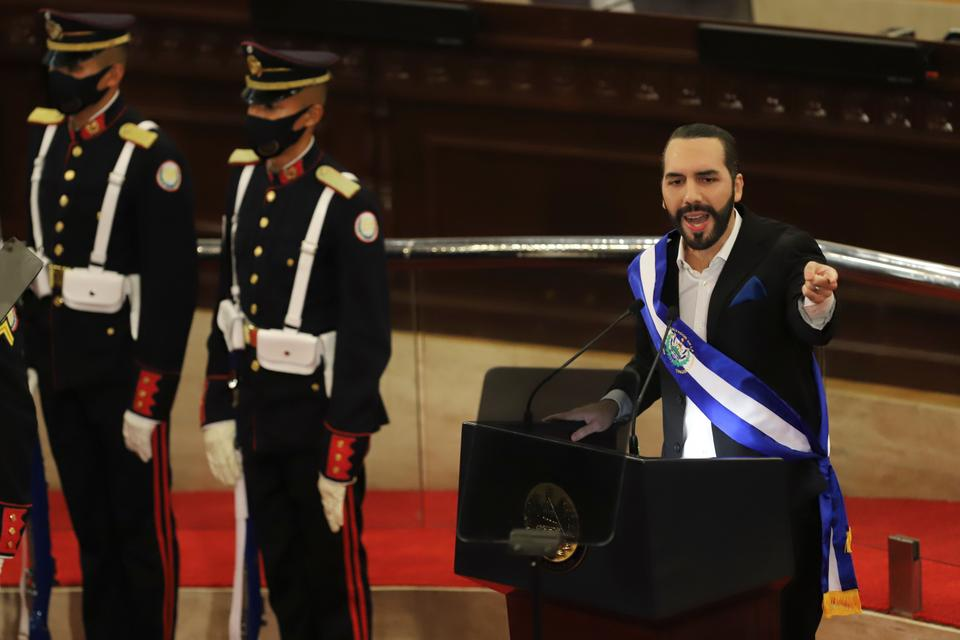 President Nayib Bukele delivers his annual address to the nation before Congress in San Salvador on June 1, 2021.