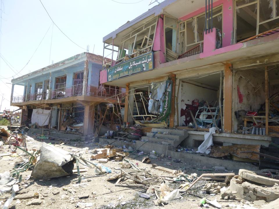 A scene from 2014 showing destroyed buildings after a Taliban attack. Kabul, Afghanistan.