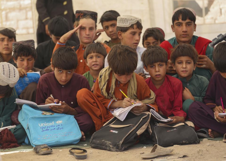 Internally displaced children at the Herat Refugee Camp, Afghanistan.
