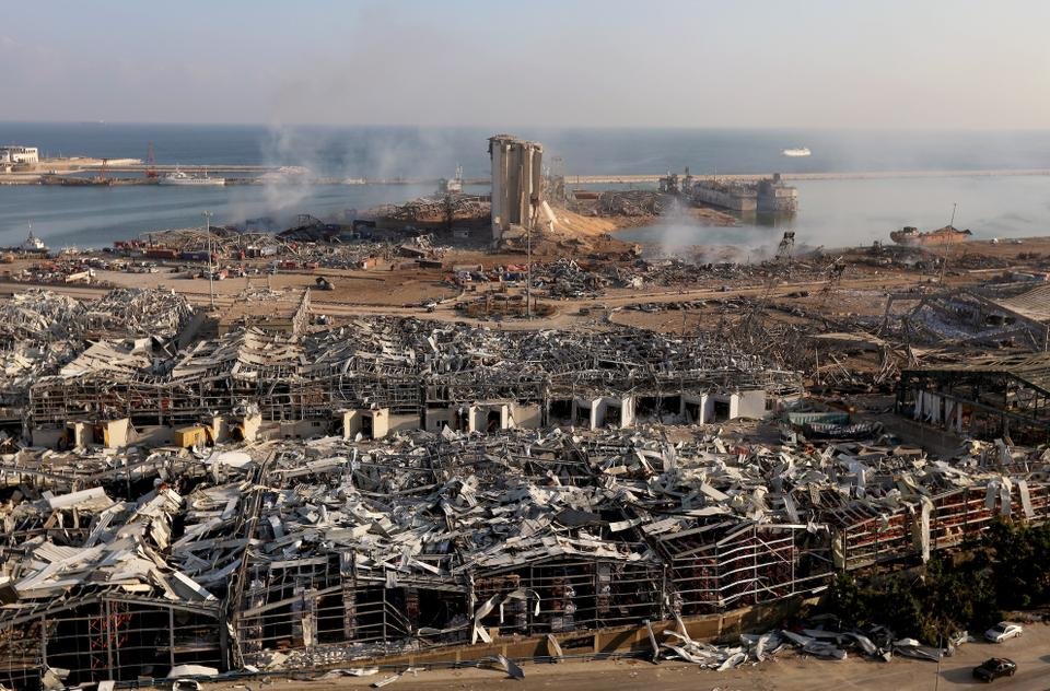 A general view shows the damage at the site of Tuesday's blast in Beirut's port area, Lebanon August 5, 2020.
