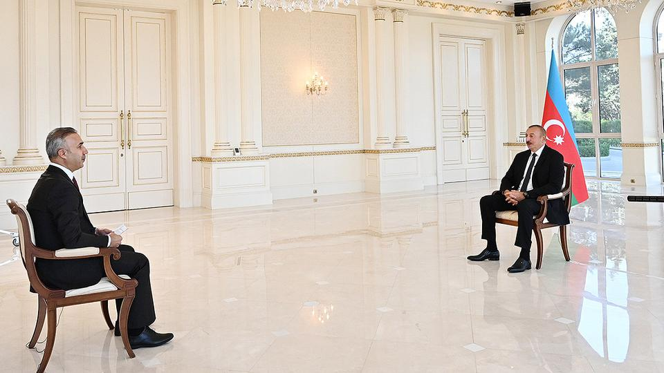 Azerbaijani President Ilham Aliyev speaks to Turkey's Anadolu Agency during an extensive interview On September 27, 2021, the first anniversary of the Forty-Four Day War over the disputed Karabakh region,  which ended with Baku's victory over Yerevan.