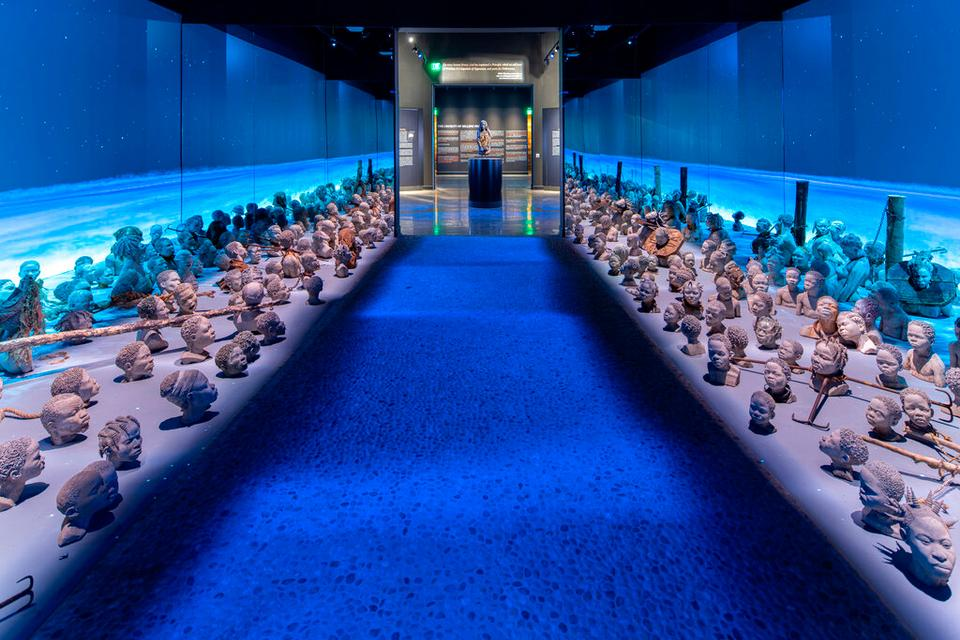 The picture shows an exhibit about the people killed on the journey from Africa to slave ports in America at the Legacy Museum (AP)