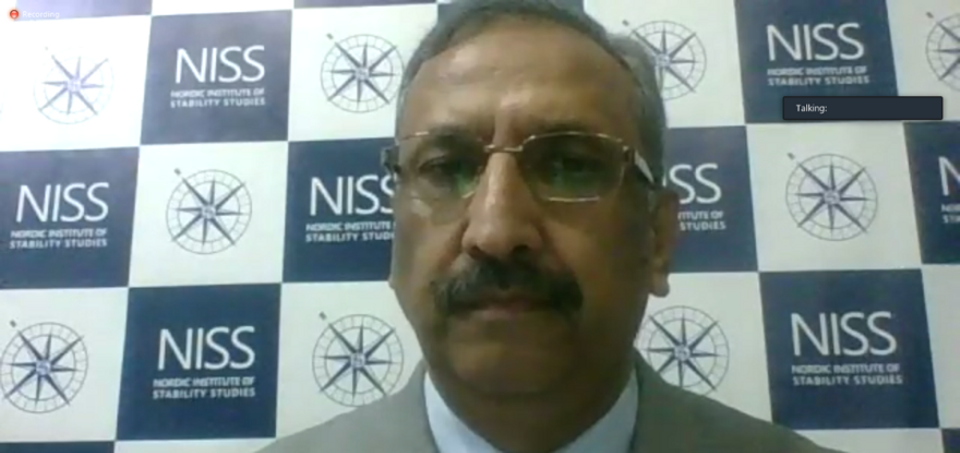 """Muhammad Athar Javed, director general of the Nordic Studies of Stability Studies (NISS), moderated the international webinar titled """"Failure of India's Neighborhood First Policy under BJP Government: Implications for Regional Cooperation""""."""