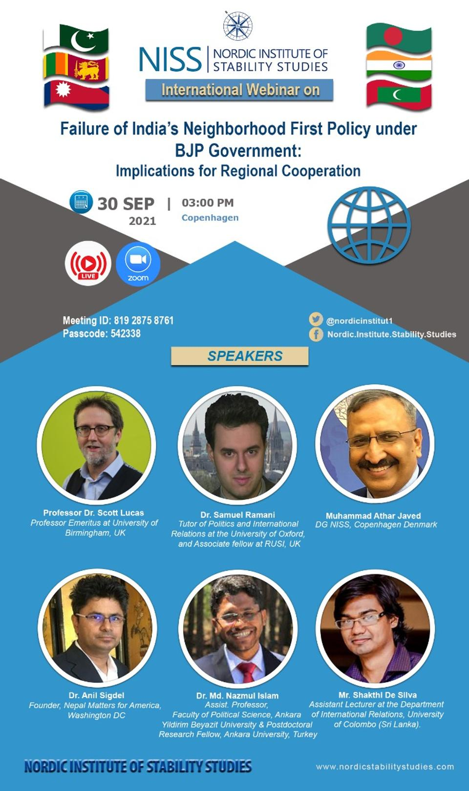 The poster of the international webinar on India's Neighbourhood First Policy.
