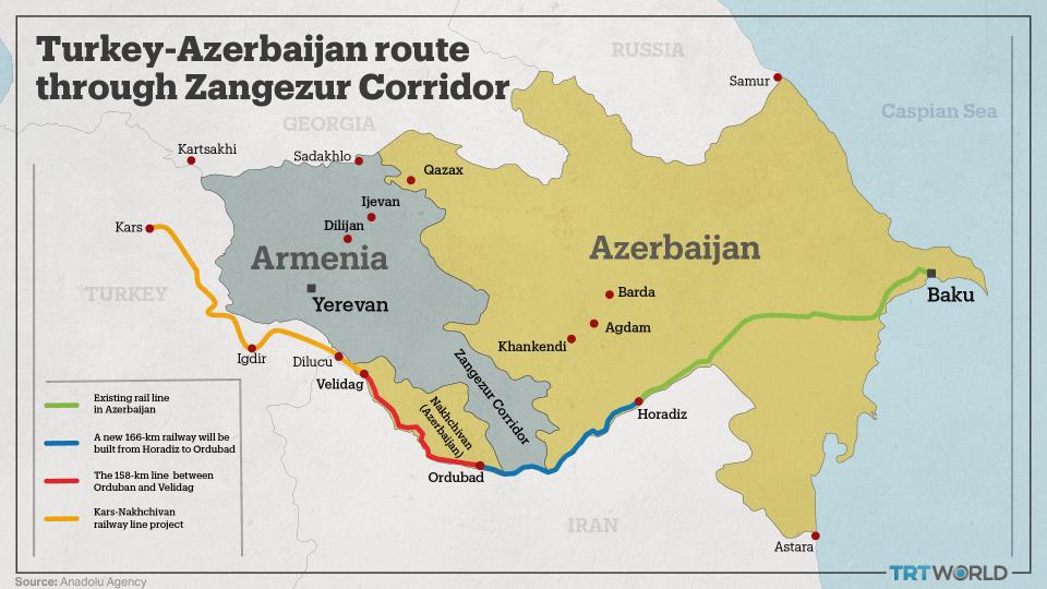 Zangezur corridor connects Azerbaijan's main territory with Turkey through Armenia and the Nakhchivan province.