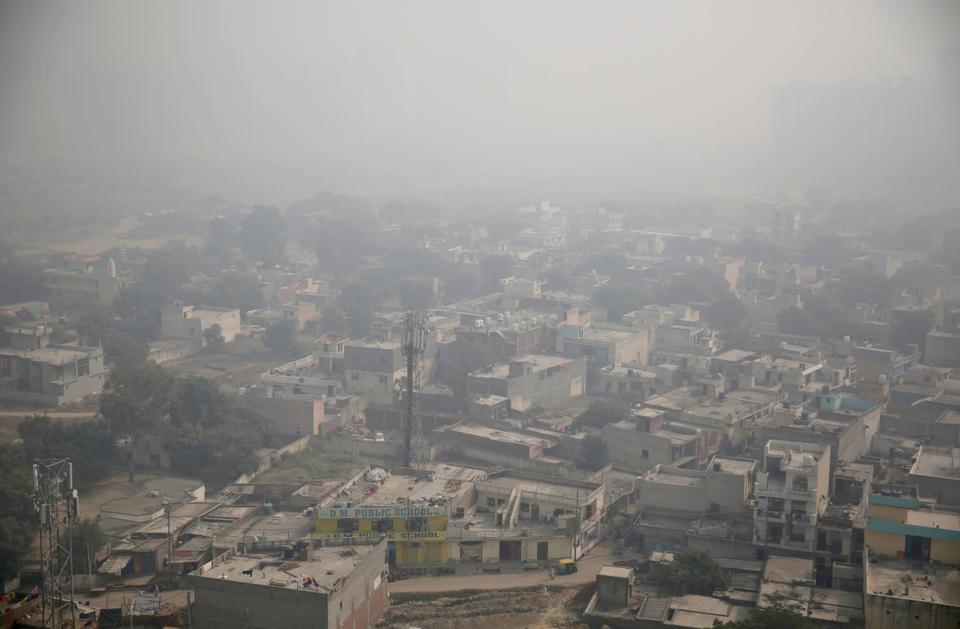 Morning haze envelops the skyline on the outskirts of New Delhi, India, Wednesday, Oct. 24, 2018. The Indian capital and large parts of north India gasp for breath for most of the year due to air pollution caused by various reasons including the burning of coal.